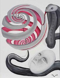 Schlange, Rot schwarz, Kopf, Malerei
