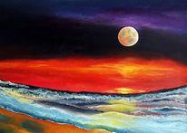 Sonnenuntergang, Mond, Meer, Romantik