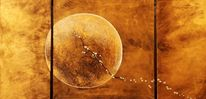 Universum, Mond, Gold, Surreal