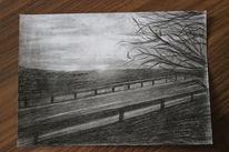 Zeichnung, Straße, Baum, Bleistiftzeichnung