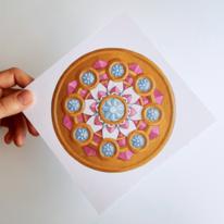 Wasserfarben, Rosette, Abstrakt, Mandala