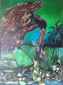 Acrylmalerei, Spachtel, Malerei, Vogel