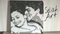 Acrylmalerei, Bollywood, Schwarzweiß, Liebe