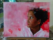 Schichtung, Portrait, Frau, Rot