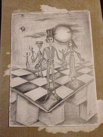 Zeichnung, Bleistiftzeichnung, Zeichnungen, Schach