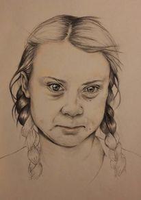Greta thunberg, Zukunft, Portrait, Zeichnungen