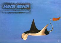 Fisch, Tiere, Manta, Ölmalerei