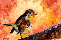 Äste, Malerei, Vogel, Rotkehlchen