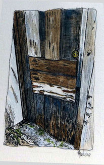 Alt, Malerei, Tür holz, Aquarell