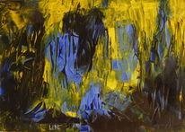 Gelb, Blau, Acrylmalerei, Schwarz