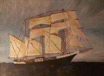 Dreimaster, Schiff, Meer, Unwetter