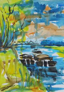 Landschaft, Aquarellmalerei, Bei magdeburg, Malerei