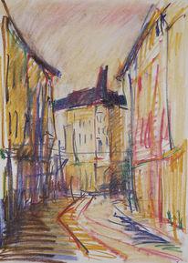 Stadtlandschaft, Magdeburger, Hasselbachplatz, Pastellmalerei