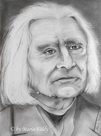 Komponist, Portrait, Bleistiftzeichnung, Unrarische rapsodie