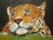 Leopard, Malerei, Wildkatze, Acrylmalerei