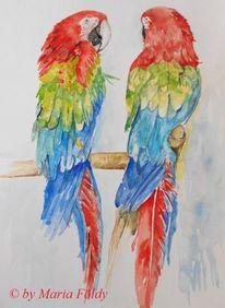 Bunt, Malerei, Grün, Papagei