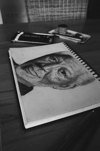 2015, Bleistiftzeichnung, Morgan freeman, Zeichnung