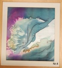 Seidenkunst, Aquarellmalerei, Wolken, Abstrakt