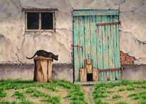 Stall, Stalltür, Katze, Aquarellmalerei