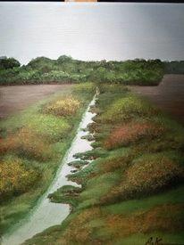 Malerei, Wasser, Landschaft, Acrylmalerei
