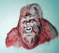 Primaten, Gorilla, Malerei, Wand