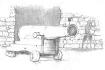 Bleistiftzeichnung, Kanone, Schatten, Spatz