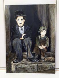 Kind, Chaplin, Acrylmalerei, Pastellmalerei