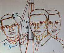 Malerei, Figural, Afrika, kindsoldaten