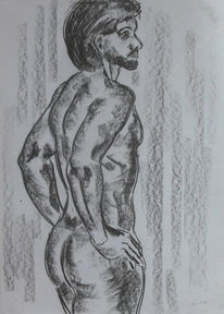 Akt, Zeichnung, Rückenakt, Zeichnungen