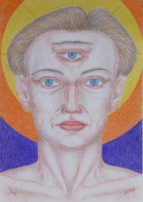 Ausdruckszeichnung, Menschen, Polychromos, Intuition