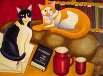 Stillleben, Katze, Kater murr, Malerei