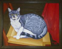 Malerei, Katze, Stillleben