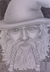 Wotan, Mythologie, Bleistiftzeichnung, Lumograph