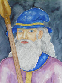 Germanisch, Aquarellmalerei, Mythologie, Aquarell
