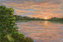 Sonnenuntergang, Spiegelung, Wasser, Baum