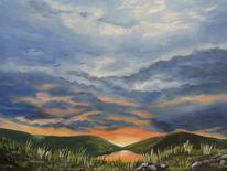 Acrylmalerei, Himmel, Wolken, Sonnenuntergang