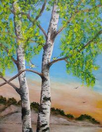 Birken, Blaumeisen, Baum, Laub