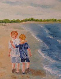 Kinder, Strand, Brandung, Wasser