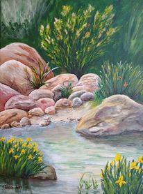 Bach, Ufer, Pflanzen, Blumen
