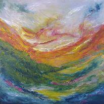 Papiercollage, Landschaft, Abstrakt, Malerei