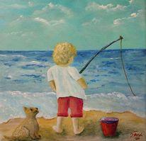 Wasser, Junge, Hund, Angel