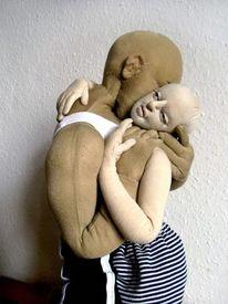 Puppe, Malerei, Figural, Kussvorlage