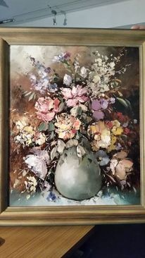 Florales blumenvasenmotiv, Blumenstrauß, Ölmalerei, Spachteltechnik