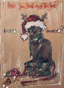 Weihnachten, Katze, Zeichnungen,