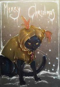 Weihnachten, Katze, Schwarz, Zeichnungen