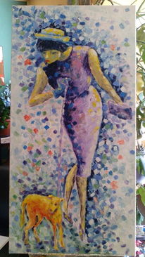 Voilett, Dame mit hund, Blau, Malerei