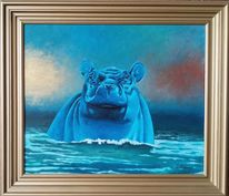 Acrylmalerei, Bronze, Hippo, Abstrakt