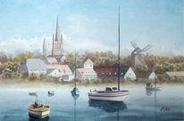 Mühle, Werder havel, Aquarellmalerei, Wasser