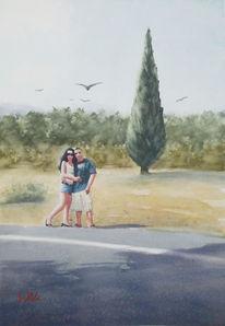 Zypresse, Aquarellmalerei, Spanien, Aquarell