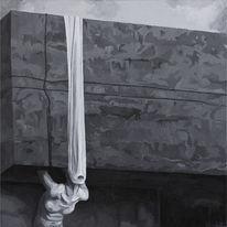 Acrylmalerei, Surreal, Figural, Schwarz